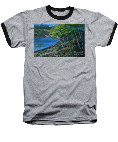 Baseball T-Shirt featuring the painting Favorite Fishin' Hole by Leslie Allen