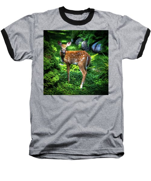 Baseball T-Shirt featuring the photograph Fawn In The Garden by David Patterson