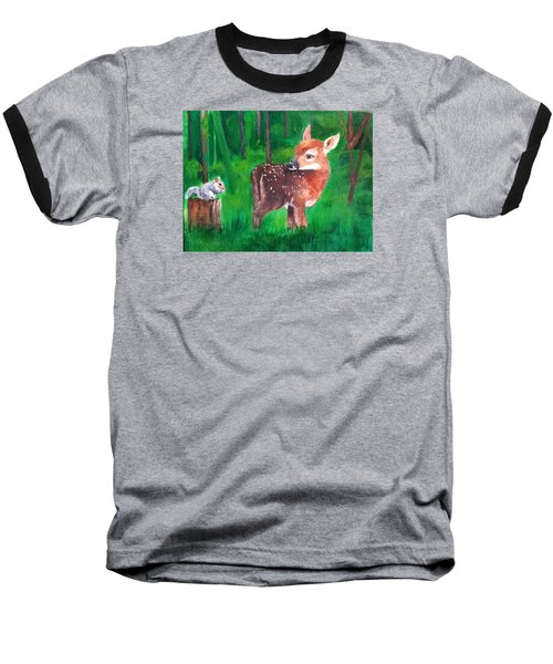Fawn With Squirrel Baseball T-Shirt by Ellen Canfield
