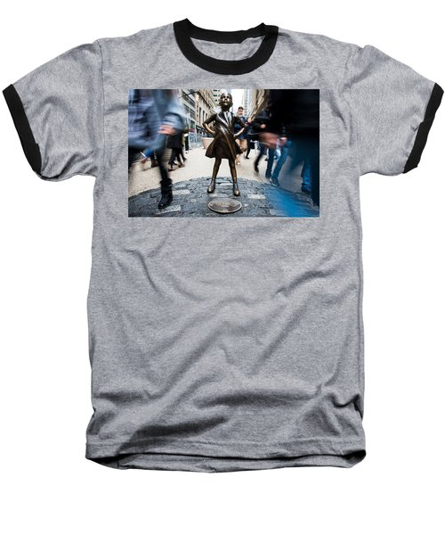 Baseball T-Shirt featuring the photograph Fearless Girl by Stephen Holst
