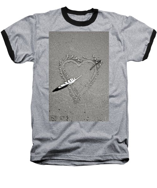 Feather Arrow Through Heart In The Sand Baseball T-Shirt