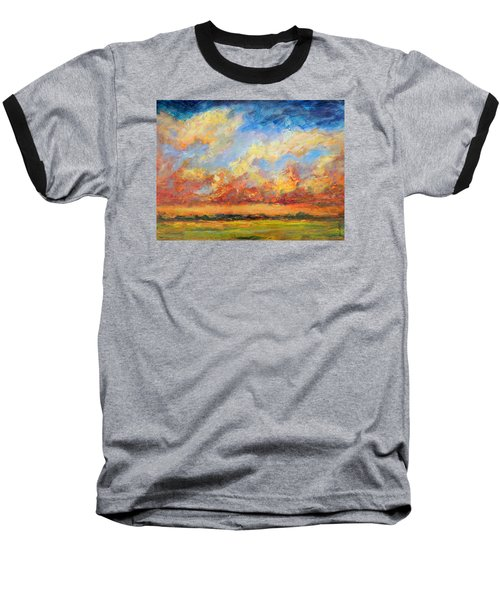Baseball T-Shirt featuring the painting Feathered Sky by Mary Schiros