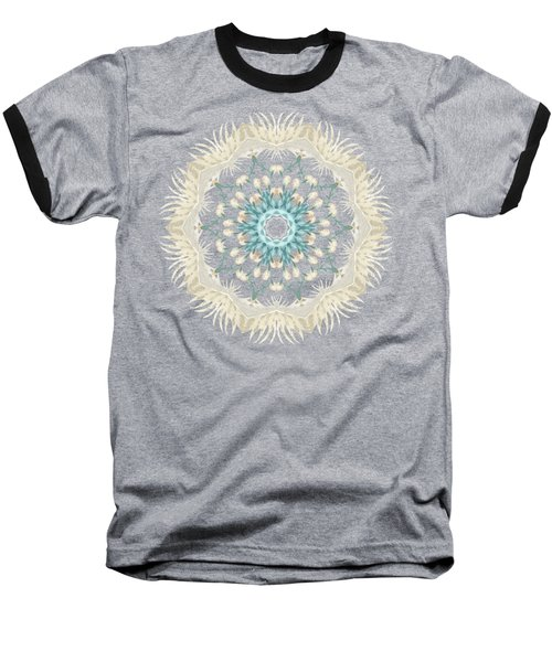 Feathers And Catkins Kaleidoscope Design Baseball T-Shirt by Mary Machare