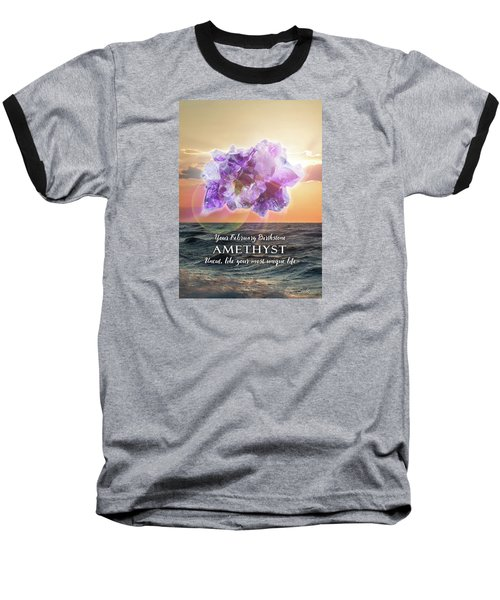 February Birthstone Amethyst Baseball T-Shirt