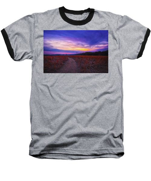 Baseball T-Shirt featuring the photograph February Sunset And Path At Retzer Nature Center by Jennifer Rondinelli Reilly - Fine Art Photography