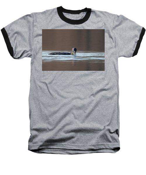 Feeding Common Loon Baseball T-Shirt by Bill Wakeley