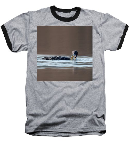 Feeding Common Loon Square Baseball T-Shirt by Bill Wakeley