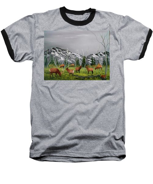 Feeding Elk Baseball T-Shirt by Al Johannessen