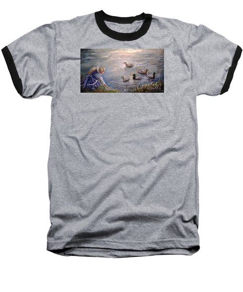 Baseball T-Shirt featuring the painting Feeding Time by Patricia Schneider Mitchell