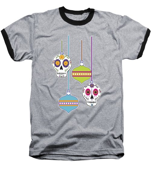 Feliz Navidad Holiday Sugar Skulls Baseball T-Shirt by Tammy Wetzel