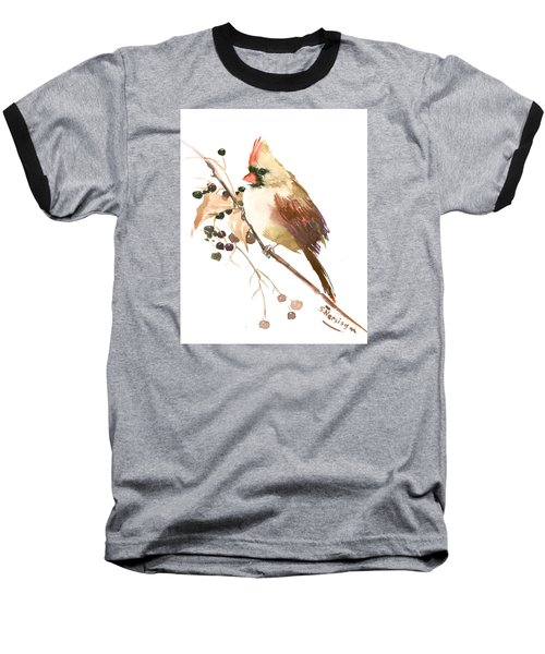 Female Cardinal Bird Baseball T-Shirt