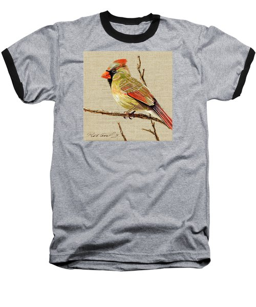 Female Cardinal Baseball T-Shirt by Bob Coonts