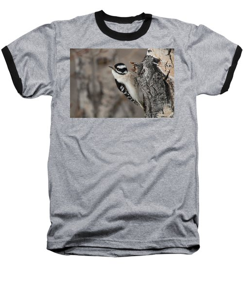 Female Downey Woodpecker Baseball T-Shirt