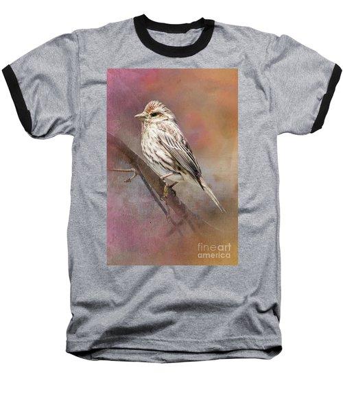 Female Sparrow On Branch Ginkelmier Inspired Baseball T-Shirt