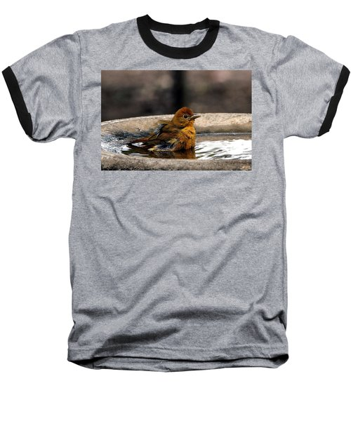 Female Summer Tanager In Bird Bath Baseball T-Shirt