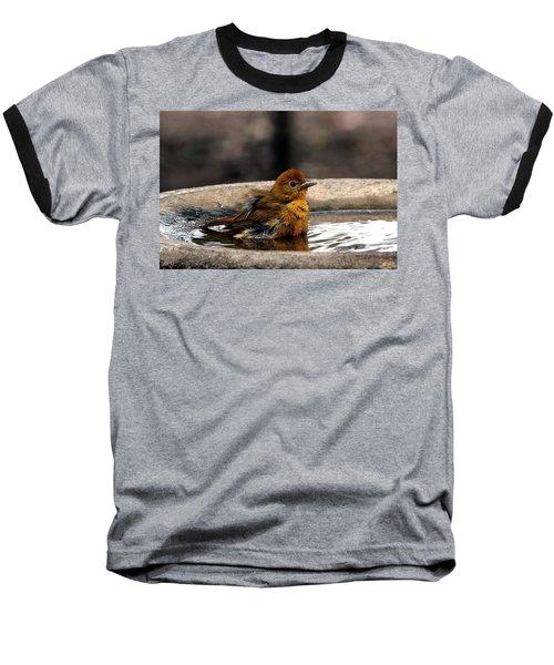 Female Summer Tanager In Bird Bath Baseball T-Shirt
