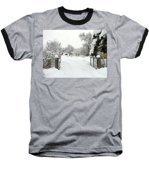 Baseball T-Shirt featuring the photograph Fence And  Gate In Winter by Wilhelm Hufnagl