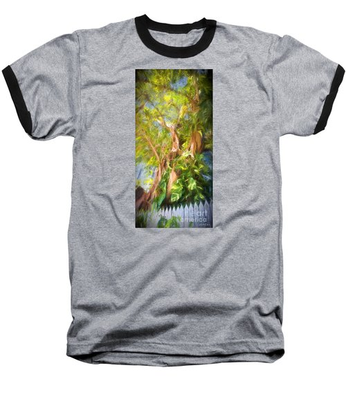 Baseball T-Shirt featuring the digital art Fence And Trees In Keys by Linda Olsen