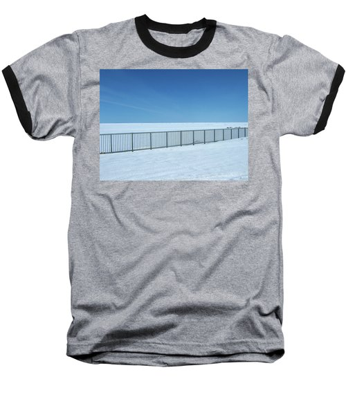 Fence In Snow Baseball T-Shirt