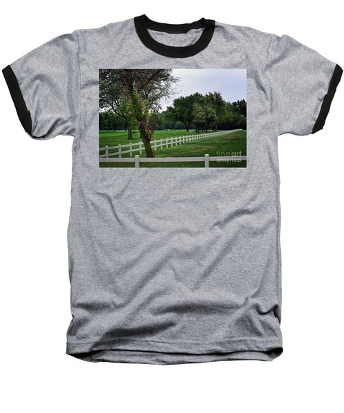 Fence On The Wooded Green Baseball T-Shirt