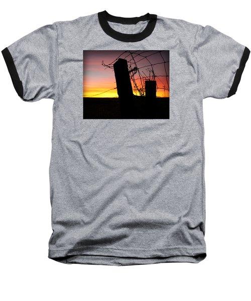 Fence Sunrise Baseball T-Shirt