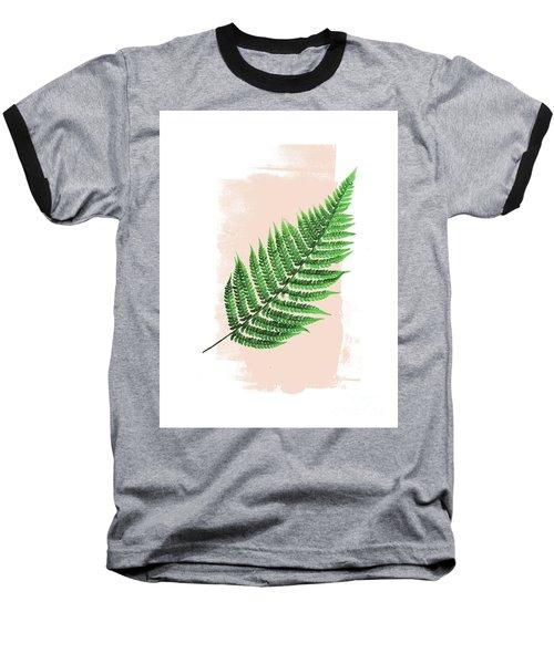 Fern Leaf On Pink Baseball T-Shirt