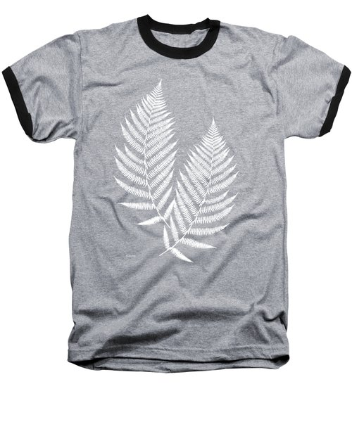 Baseball T-Shirt featuring the mixed media Fern Pattern Black And White by Christina Rollo
