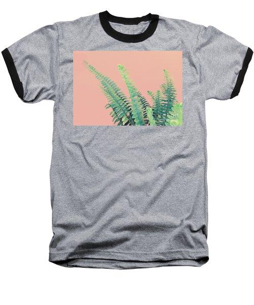 Ferns On Pink Baseball T-Shirt