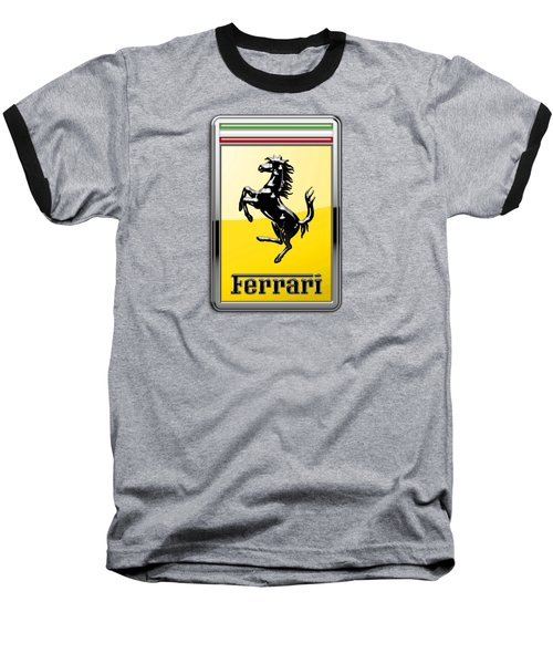 Ferrari 3d Badge- Hood Ornament On Black Baseball T-Shirt