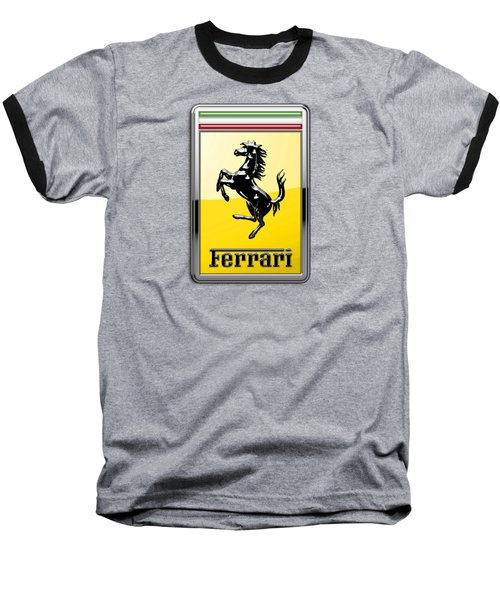 Ferrari 3d Badge- Hood Ornament On Yellow Baseball T-Shirt by Serge Averbukh