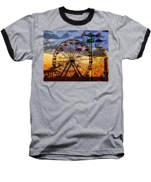 Baseball T-Shirt featuring the digital art Ferris At Dusk by David Lee Thompson