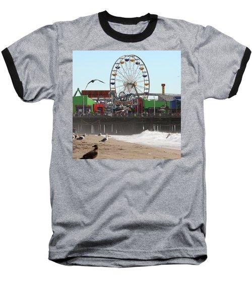 Ferris Wheel At Santa Monica Pier Baseball T-Shirt