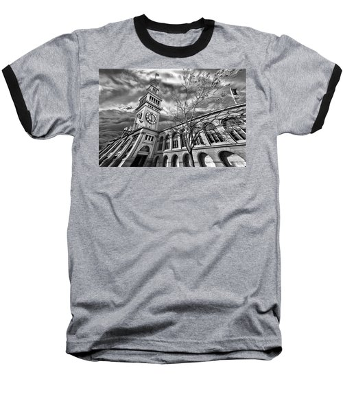 Ferry Building Black  White Baseball T-Shirt