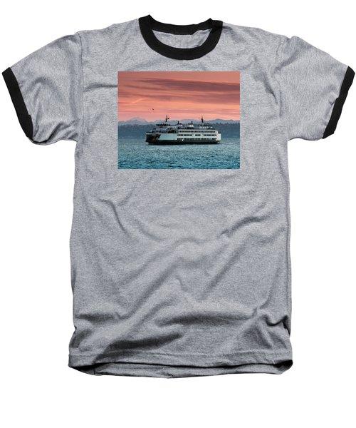 Ferry Cathlamet At Dawn.1 Baseball T-Shirt by E Faithe Lester