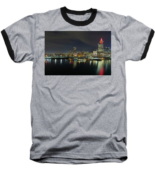 Ferry Terminal In Vancouver Bc At Night Baseball T-Shirt