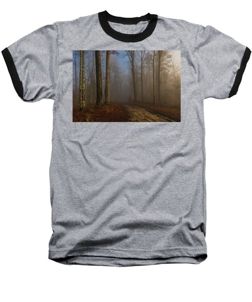 Foggy Morning In The Forest Baseball T-Shirt