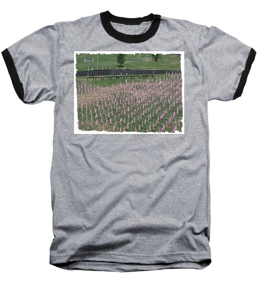 Baseball T-Shirt featuring the digital art Field Of Flags - Gotg Arial by Gary Baird