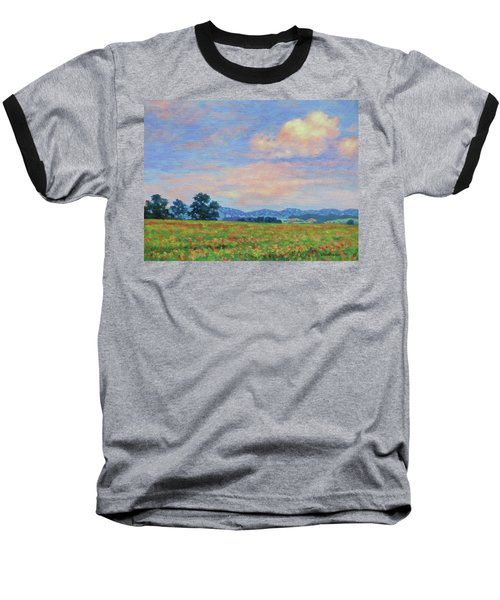 Field Of Flowers- Burkes Garden Fields Baseball T-Shirt