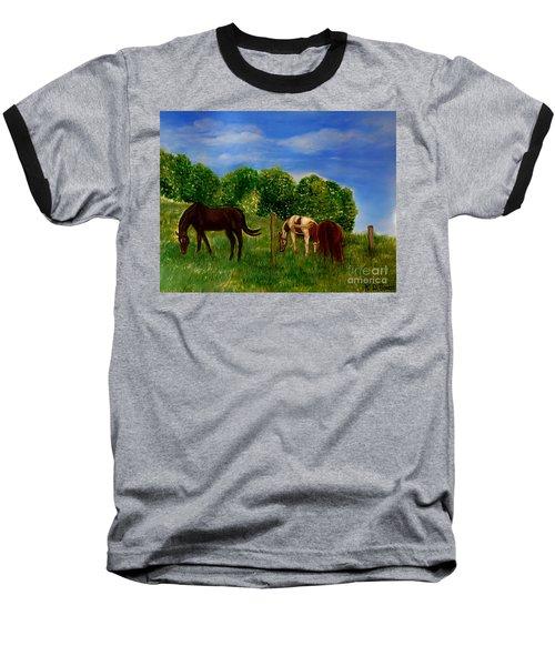 Field Of Horses' Dreams Baseball T-Shirt by Kimberlee Baxter