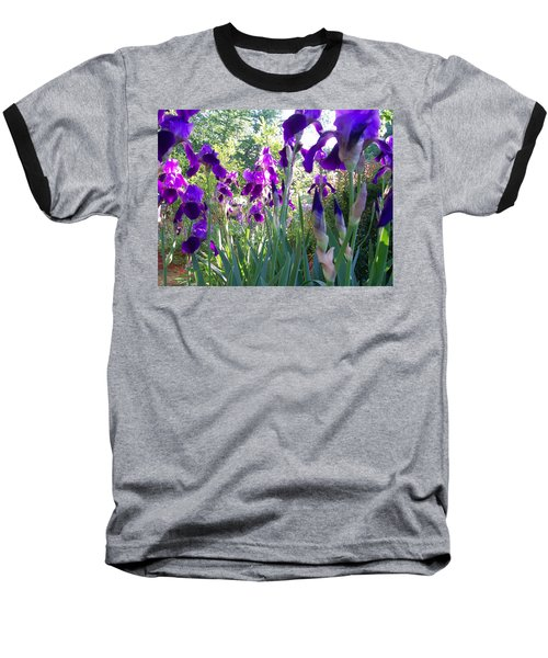 Baseball T-Shirt featuring the digital art Field Of Irises by Barbara S Nickerson