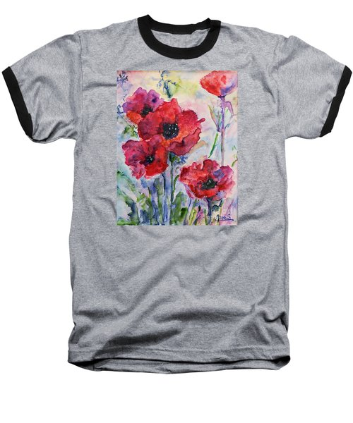 Field Of Red Poppies Watercolor Baseball T-Shirt by AmaS Art