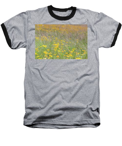 Field Of Yellow Flowers In A Sunny Spring Day Baseball T-Shirt
