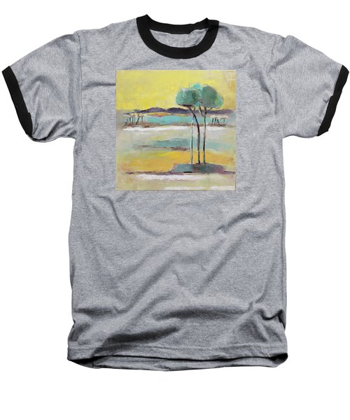 Standing In Distance Baseball T-Shirt by Becky Kim