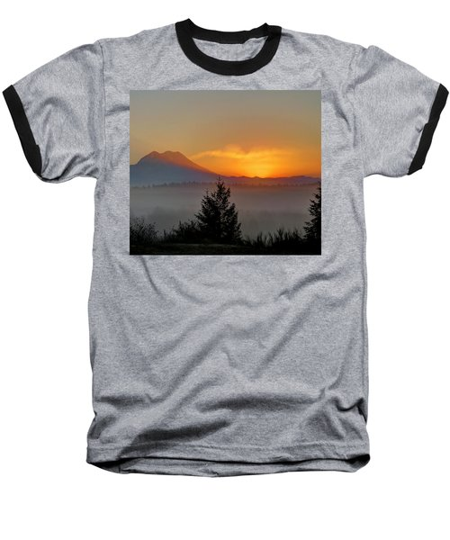 Fiery Fall Sunrise Baseball T-Shirt by Peter Mooyman