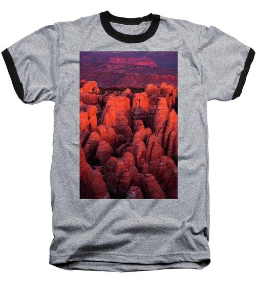 Fiery Furnace Baseball T-Shirt by Dustin LeFevre