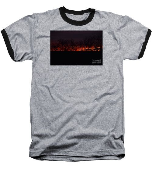 Baseball T-Shirt featuring the photograph Fiery Kansas Sky by Mark McReynolds