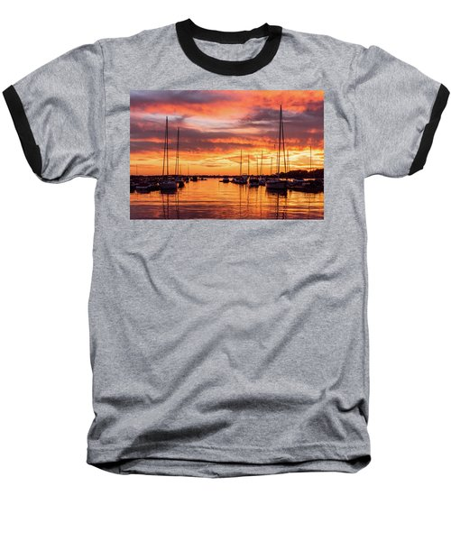 Fiery Lake Norman Sunset Baseball T-Shirt