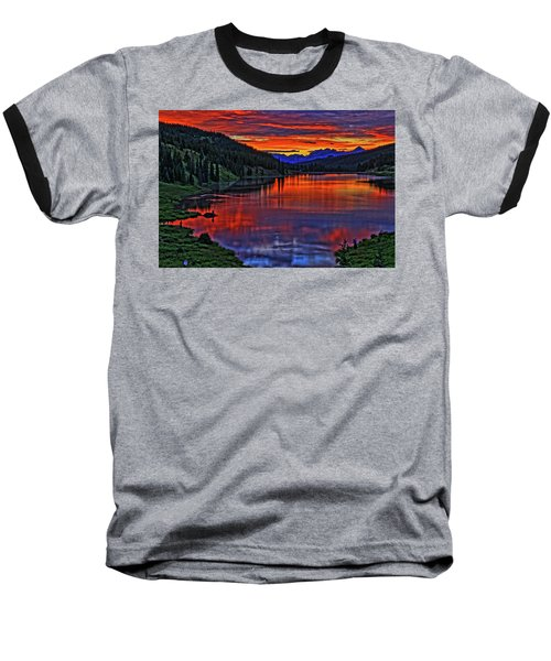 Baseball T-Shirt featuring the photograph Fiery Lake by Scott Mahon