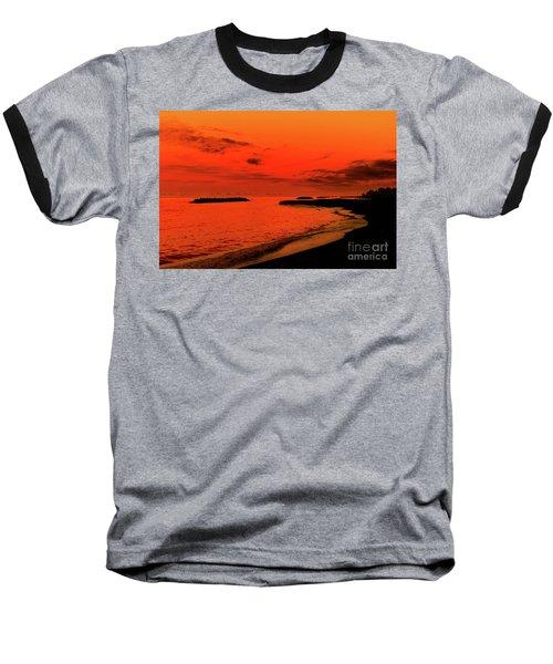 Fiery Lake Sunset Baseball T-Shirt by Randy Steele