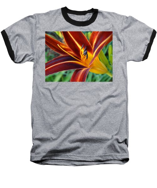 Fiery Lilies In Bloom Baseball T-Shirt by Rebecca Overton